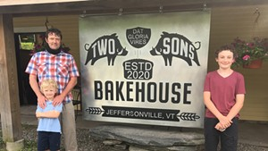 Bill Hoag and his sons in front of Two Sons Bakehouse