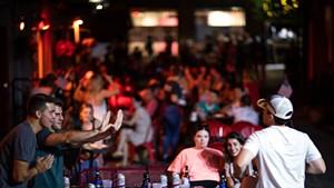Revelers at Red Square in Burlington last Friday