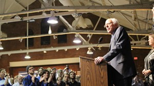 Sen. Bernie Sanders addresses supporters Saturday in Manchester, N.H.