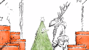 """A still from """"A Holiday Haven With Hermès,"""" animation by Ed Koren for Hermès"""