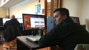 Hinesburg Police Officer Anthony Cambridge at a social media training seminar at the University of Vermont