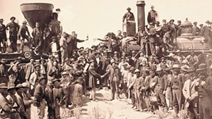 """East and West Shaking Hands at Laying of Last Rail"" by Andrew J. Russell, 1869"