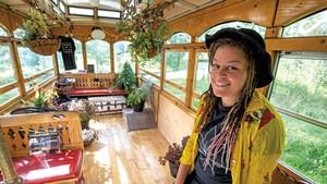 """Arantha Farrow in her """"Cannaboose"""" trolley in Hardwick"""