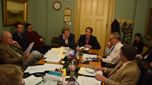 Garrett Graff (right, center) speaking to the Senate Government Operations Committee