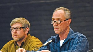 Chris Viens (Right) and Mark Frier at a Waterbury Selectboard session last year