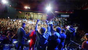 Musicians perform at a University of Iowa rally for Sen. Bernie Sanders