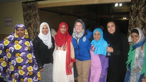 Jennifer Morrison, chief of the Colchester police department (center), with members of the Islamic Society of Vermont