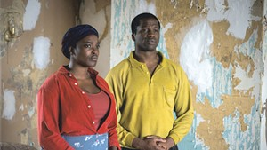 HOME FRONT Mosaku (left) and Dirisu play a refugee couple facing a supernatural threat in Weekes' thoughtful scare film.