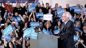 Bernie Sanders addresses the crowd in Concord following his victory in the New Hampshire Democratic Primary on Tuesday.