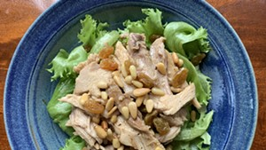 Warm turkey salad with sweet and sour dressing