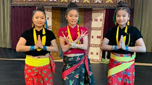 Isha Ghaley, Risthika Gurung  and Bindhiya Khadka of  the Bhutanese Nepali Cultural Heritage Dance Group