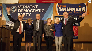 Congressman Peter Welch (left) joins Sen. Bernie Sanders (center) and Sen. Patrick Leahy (right) and their wives at an election night gathering in 2014.