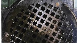 A February 2020 photograph of a Chittenden Regional Correctional Facility shower drain taken by Office of Prisoners' Rights investigator Hillary Reale