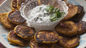 Winter squash blini with cilantro sour cream