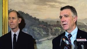 Health Commissioner Mark Levine (left) and Gov. Phil Scott