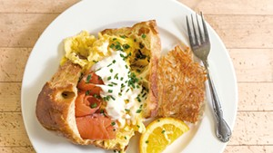 Popover breakfast with scrambled eggs, lemon-shallot crème fraîche and smoked salmon
