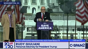 Rudy Giuliani speaking to attendees at the Stop the Steal Rally last Wednesday