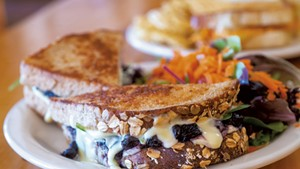 Sandwich of balsamic blueberries, spinach and brie from Round Hearth Café