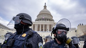 Police guarding the U.S. Capitol on January 6