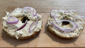 Rosemary-sea salt bagel with scallion cream cheese