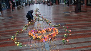 The Floral Heart Project display on Church Street