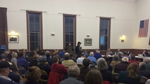 Residents criticize a deal with Vermont Gas during the Hinesburg Selectboard meeting Monday night.