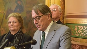 Peter Galbraith announces his candidacy for governor  at the Statehouse.