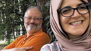 FALL FROM GRACE Fogel's documentary explores how Khashoggi (shown with Cengiz) went from being a Saudi insider to an alleged assassination victim.