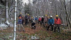 The group's volunteers doing trail work