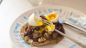 Honey-drizzled ham-and-potato tostada — with optional egg