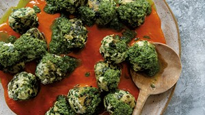Chicken kale meatballs with CBD-infused cherry tomato and pesto sauces