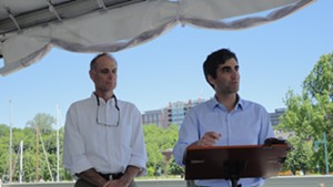 Peter Owens, left, stands with Mayor Miro Weinberger.