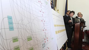 Department of Financial Regulation Commissioner Susan Donegan points to a chart detailing the alleged inappropriate flow of funds within Jay Peak and Q Burke EB-5 projects during a press conference Thursday at the Statehouse.