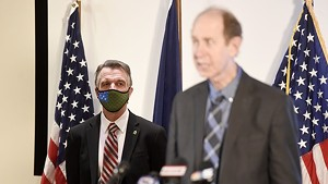 Gov. Phil Scott and Health Commissioner Mark Levine at a press briefing