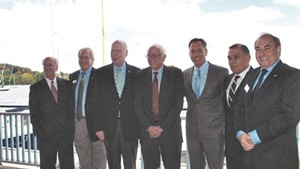 Left to right: Congressman Peter Welch, Bill Stenger, Sen. Patrick Leahy, Sen. Bernie Sanders, Gov. Peter Shumlin, Ariel Quiros and William Kelly in Newport in September 2012