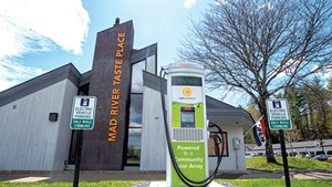 A new electric vehicle fast-charger at Mad River Taste Place in Waitsfield