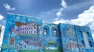 """""""Rutland City Buildings"""" mural by Persi Narvaez in downtown Rutland"""