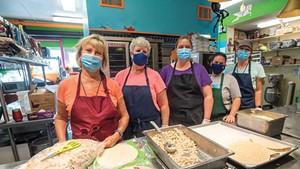 Val Hussey, School food service director, Hardwick; From left: Val Hussey, Debbie DeVoe, Jayme Lowell, Shannon Walker and Ruth McAllister in the kitchen at Hardwick Elementary School