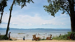 The Burlington Surf Club beach, with a view of Lake Champlain and the Adirondacks