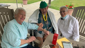 Clem Boudreau is reunited with his wife and daughter on his 89th birthday