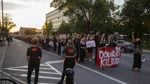 Protesters in downtown Burlington last summer