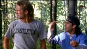 Matthew Bruch wears the famous Castleton T-shirt in a scene with Martin Guigui.