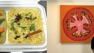 Left: Vegetable curry with saffron rice from Enna; Shannon Bates