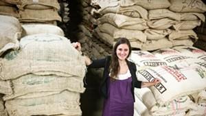 Magdelena Van Dusen with green coffee bags