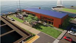 An architect's rendering of a new restaurant proposed for Lake Champlain Transportation Co.'s ferry dock in Burlington