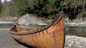 Birchbark canoe made by Henri Vaillancourt