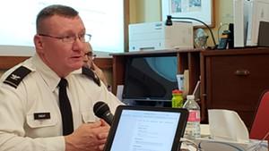 Adjutant General Greg Knight testifying before a legislative committee