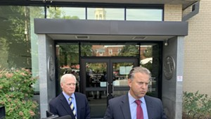 William Stenger, left, and his attorney, Brooks McArthur, speaking to the media on Friday
