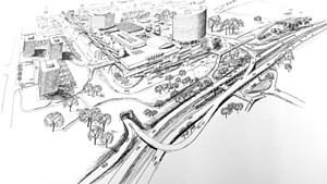 A 1964 Horizon document envisioning the urban renewal zone and elevated highways along the lake