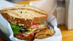 The Pilgrim turkey sandwich and a cookie at Thompson's Flour Shop